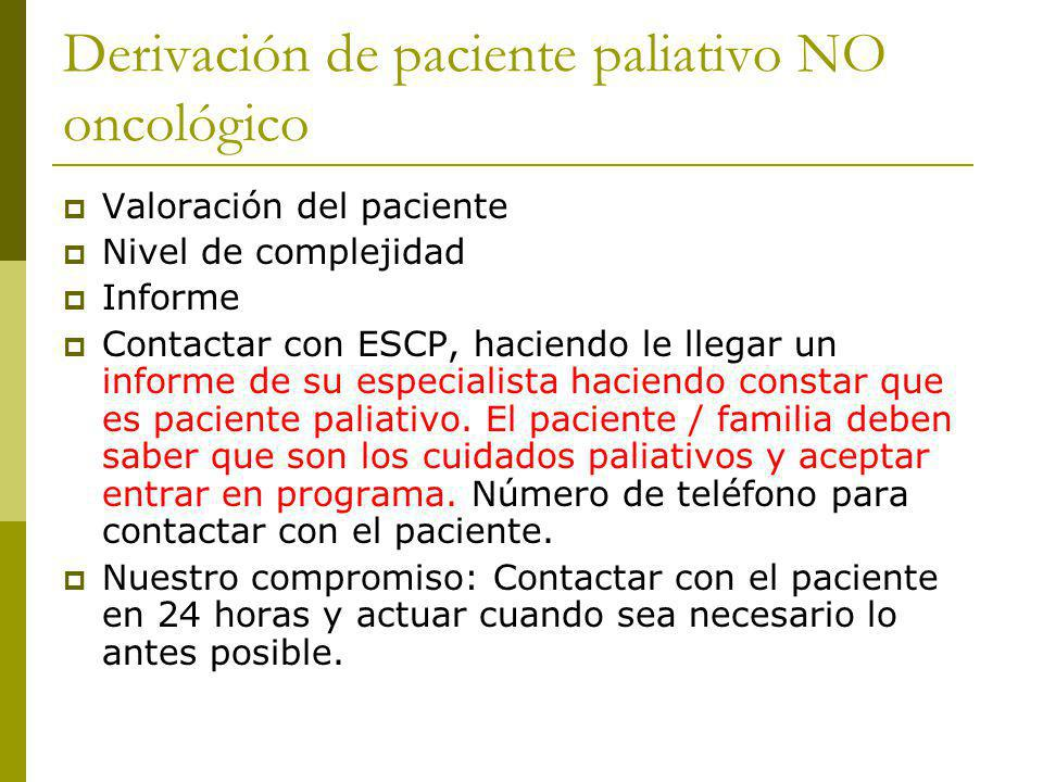 Derivación de paciente paliativo NO oncológico