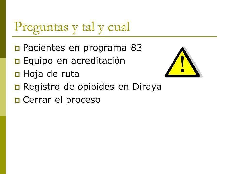 Preguntas y tal y cual Pacientes en programa 83 Equipo en acreditación