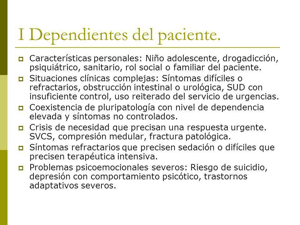 I Dependientes del paciente.