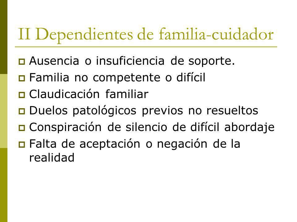 II Dependientes de familia-cuidador