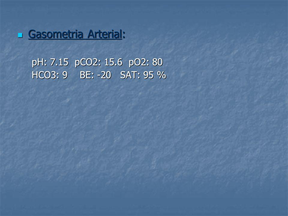 Gasometria Arterial: pH: 7.15 pCO2: 15.6 pO2: 80