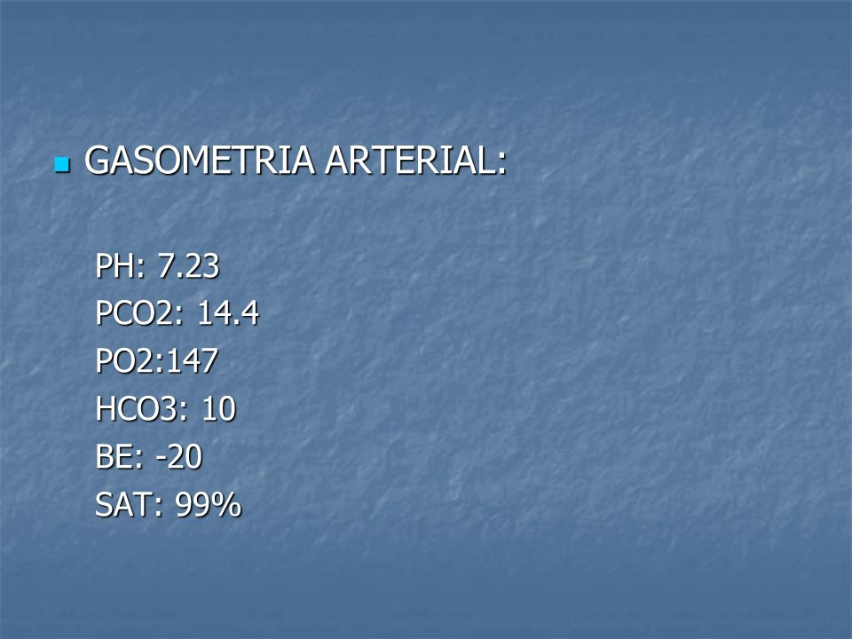 GASOMETRIA ARTERIAL: PH: 7.23 PCO2: 14.4 PO2:147 HCO3: 10 BE: -20
