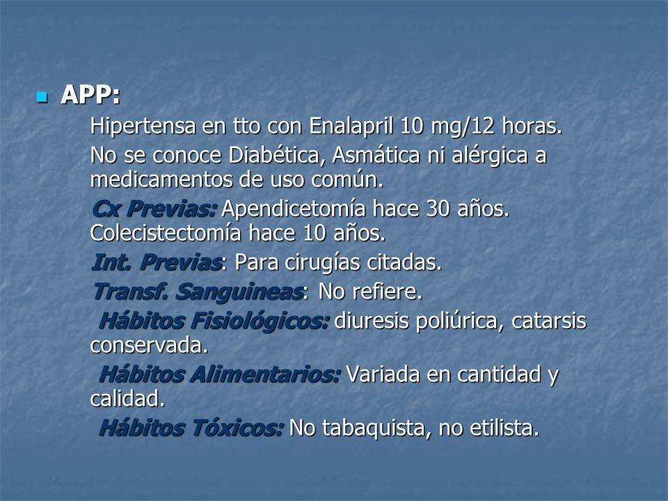 APP: Hipertensa en tto con Enalapril 10 mg/12 horas.