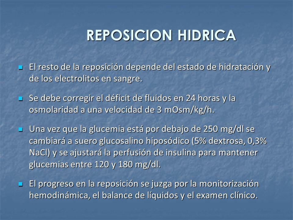 REPOSICION HIDRICA El resto de la reposición depende del estado de hidratación y de los electrolitos en sangre.