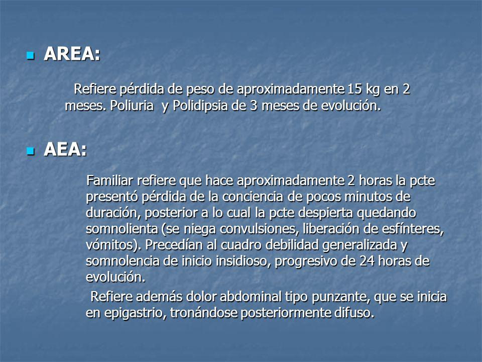 AREA: Refiere pérdida de peso de aproximadamente 15 kg en 2 meses. Poliuria y Polidipsia de 3 meses de evolución.