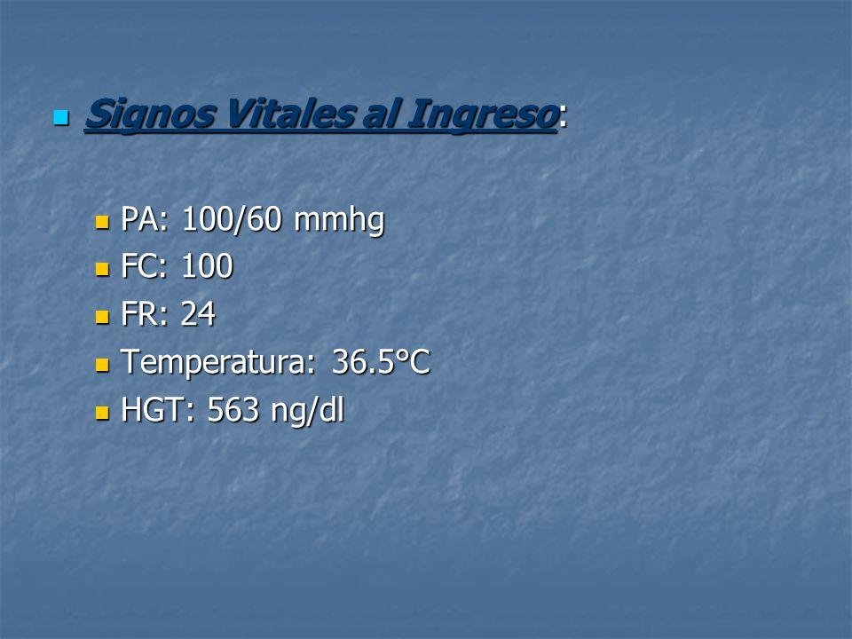 Signos Vitales al Ingreso: