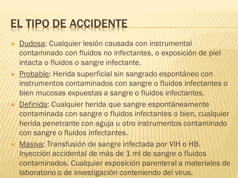 El tipo de accidente