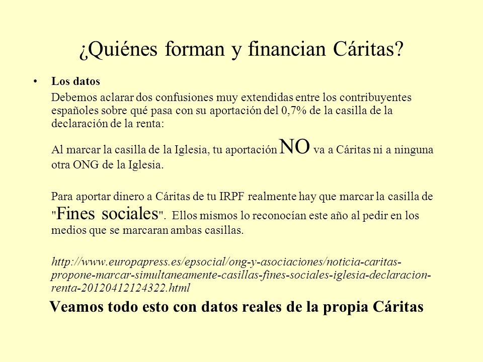 ¿Quiénes forman y financian Cáritas