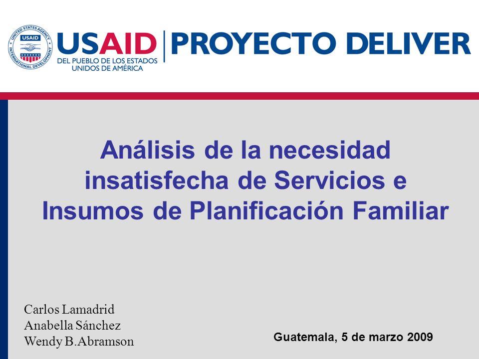 Análisis de la necesidad insatisfecha de Servicios e Insumos de Planificación Familiar