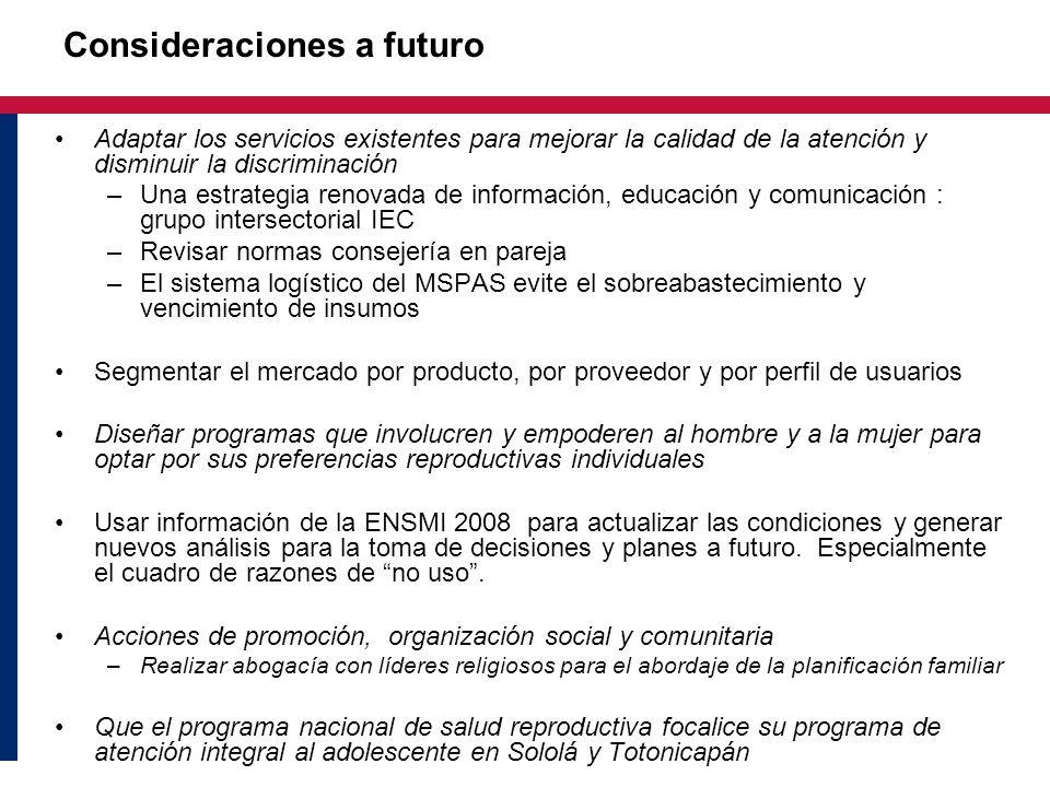 Consideraciones a futuro