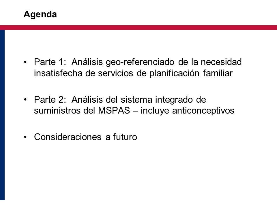 Agenda Parte 1: Análisis geo-referenciado de la necesidad insatisfecha de servicios de planificación familiar.