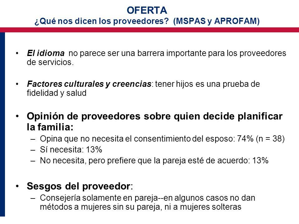 OFERTA ¿Qué nos dicen los proveedores (MSPAS y APROFAM)