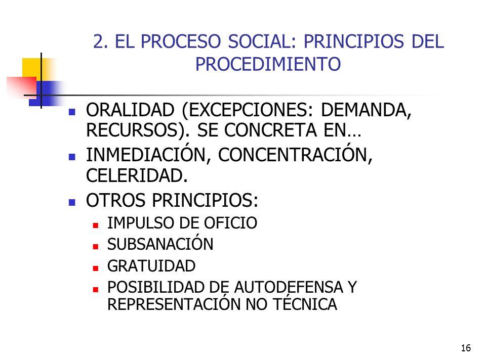 2. EL PROCESO SOCIAL: PRINCIPIOS DEL PROCEDIMIENTO