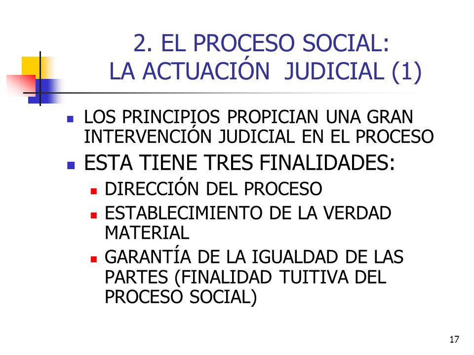 2. EL PROCESO SOCIAL: LA ACTUACIÓN JUDICIAL (1)