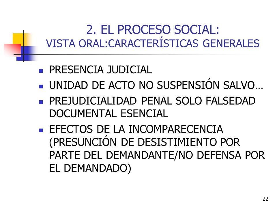 2. EL PROCESO SOCIAL: VISTA ORAL:CARACTERÍSTICAS GENERALES