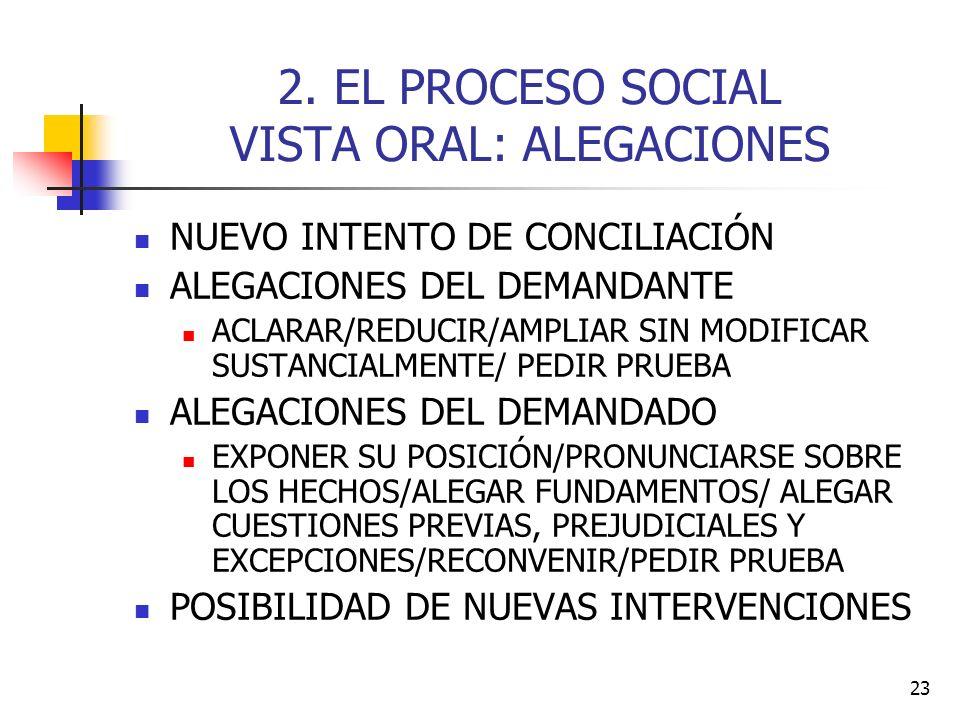 2. EL PROCESO SOCIAL VISTA ORAL: ALEGACIONES