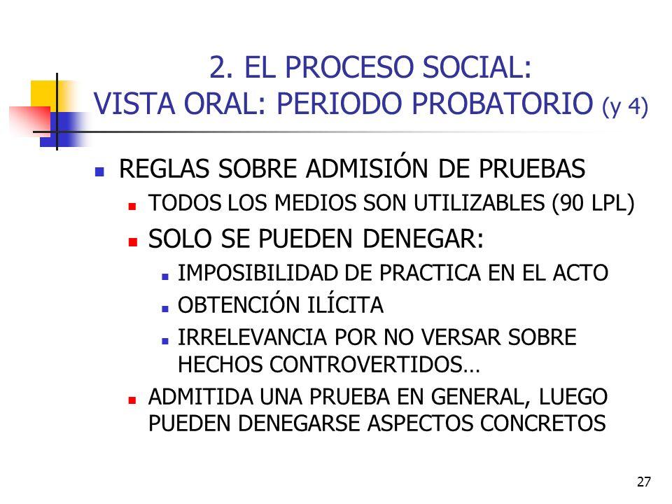 2. EL PROCESO SOCIAL: VISTA ORAL: PERIODO PROBATORIO (y 4)