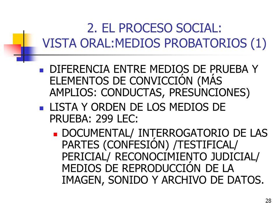 2. EL PROCESO SOCIAL: VISTA ORAL:MEDIOS PROBATORIOS (1)