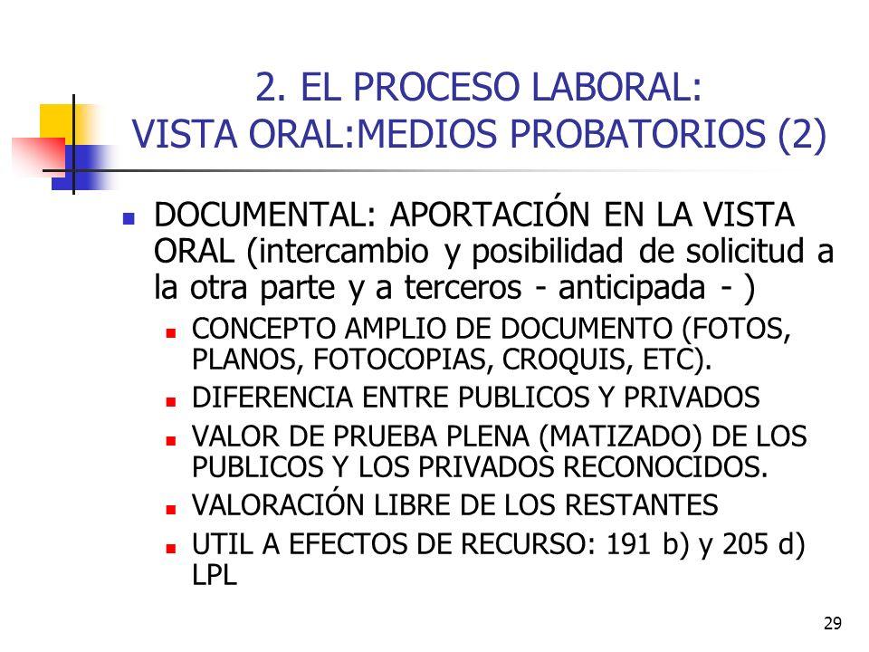 2. EL PROCESO LABORAL: VISTA ORAL:MEDIOS PROBATORIOS (2)