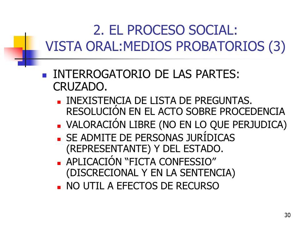 2. EL PROCESO SOCIAL: VISTA ORAL:MEDIOS PROBATORIOS (3)