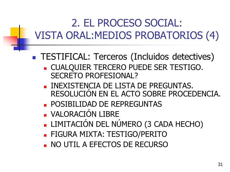 2. EL PROCESO SOCIAL: VISTA ORAL:MEDIOS PROBATORIOS (4)
