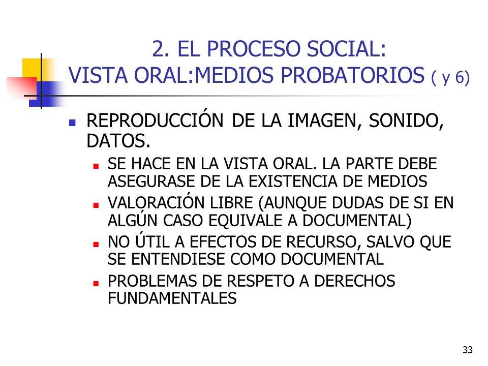 2. EL PROCESO SOCIAL: VISTA ORAL:MEDIOS PROBATORIOS ( y 6)
