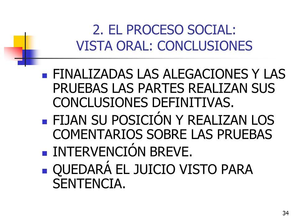 2. EL PROCESO SOCIAL: VISTA ORAL: CONCLUSIONES