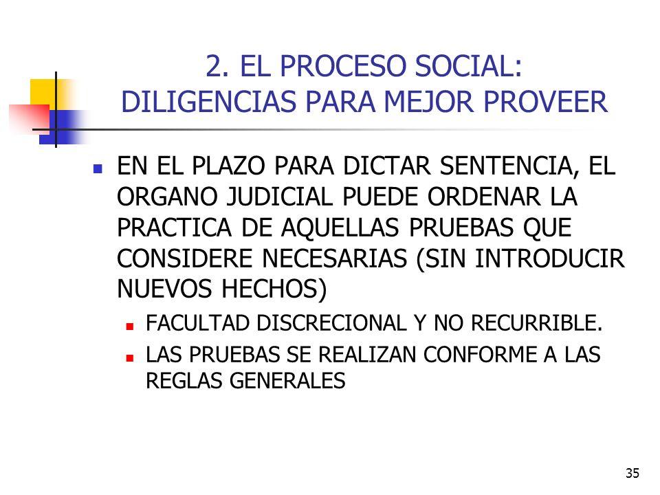 2. EL PROCESO SOCIAL: DILIGENCIAS PARA MEJOR PROVEER