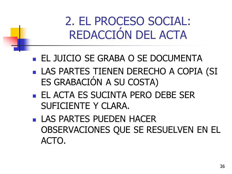 2. EL PROCESO SOCIAL: REDACCIÓN DEL ACTA