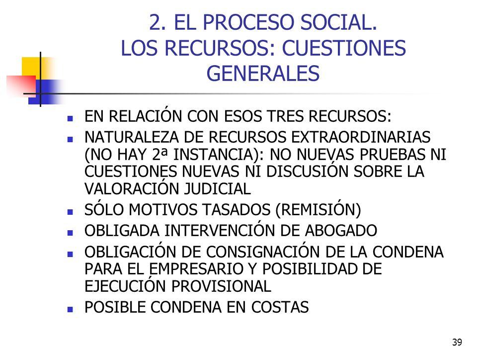 2. EL PROCESO SOCIAL. LOS RECURSOS: CUESTIONES GENERALES