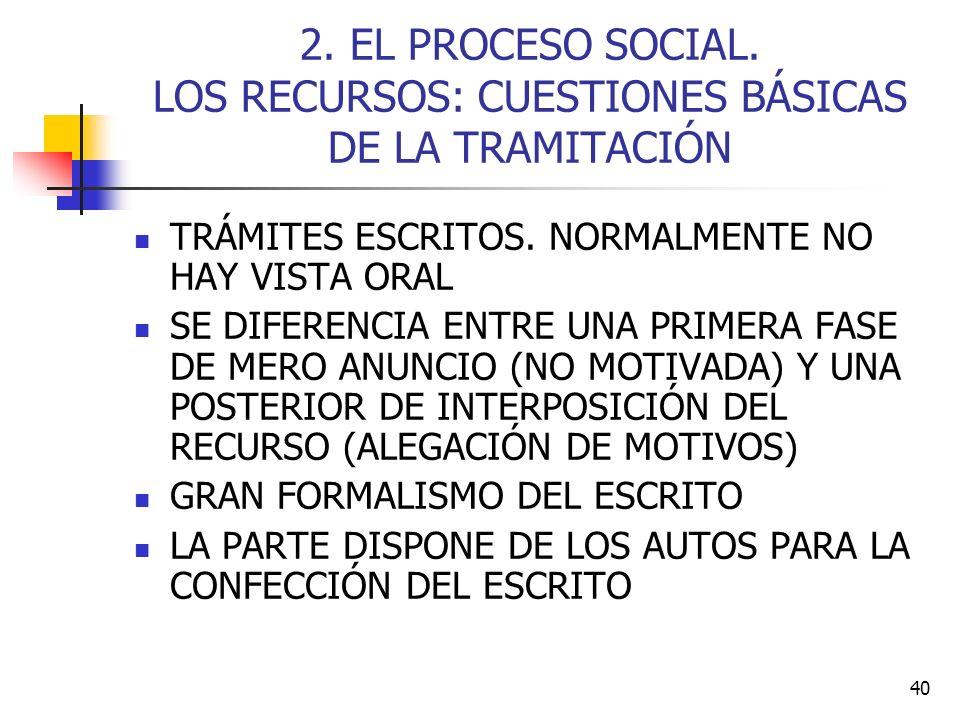 2. EL PROCESO SOCIAL. LOS RECURSOS: CUESTIONES BÁSICAS DE LA TRAMITACIÓN