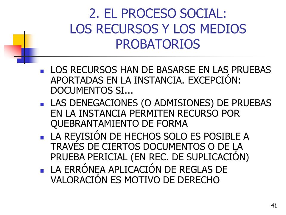 2. EL PROCESO SOCIAL: LOS RECURSOS Y LOS MEDIOS PROBATORIOS