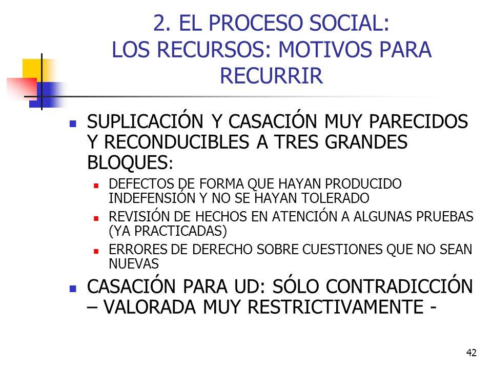 2. EL PROCESO SOCIAL: LOS RECURSOS: MOTIVOS PARA RECURRIR