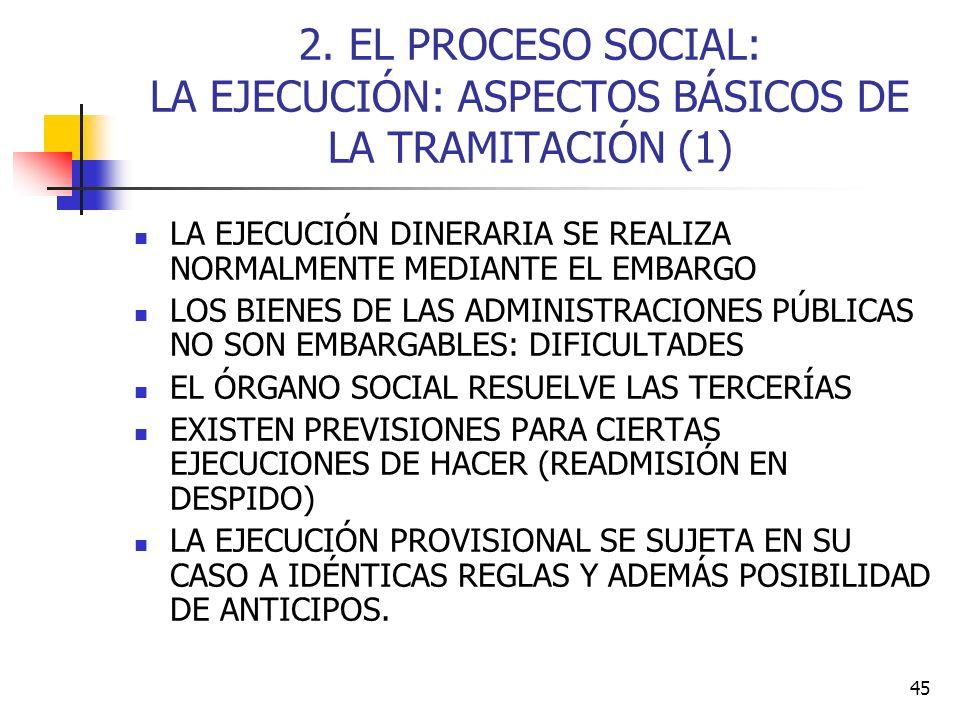 2. EL PROCESO SOCIAL: LA EJECUCIÓN: ASPECTOS BÁSICOS DE LA TRAMITACIÓN (1)