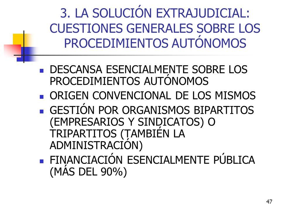 3. LA SOLUCIÓN EXTRAJUDICIAL: CUESTIONES GENERALES SOBRE LOS PROCEDIMIENTOS AUTÓNOMOS