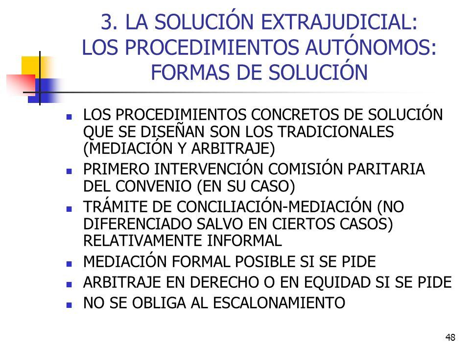 3. LA SOLUCIÓN EXTRAJUDICIAL: LOS PROCEDIMIENTOS AUTÓNOMOS: FORMAS DE SOLUCIÓN