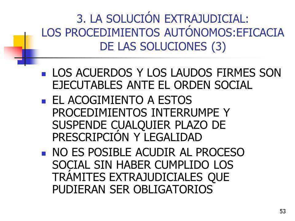 3. LA SOLUCIÓN EXTRAJUDICIAL: LOS PROCEDIMIENTOS AUTÓNOMOS:EFICACIA DE LAS SOLUCIONES (3)