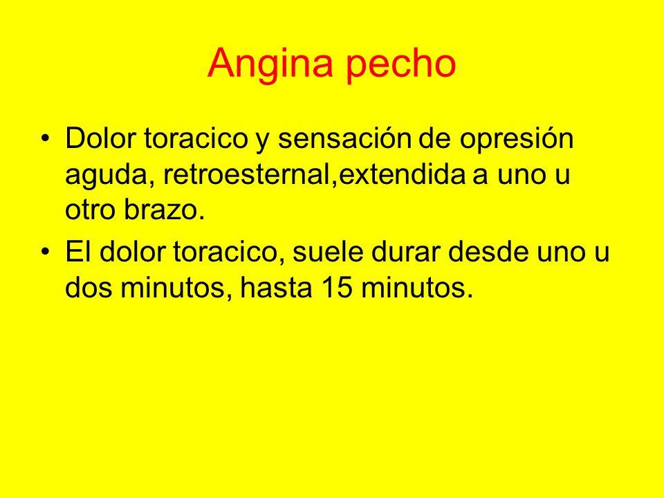 Angina pecho Dolor toracico y sensación de opresión aguda, retroesternal,extendida a uno u otro brazo.