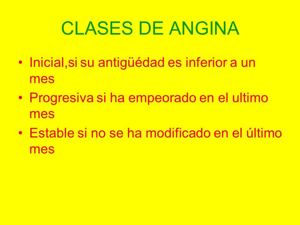 CLASES DE ANGINA Inicial,si su antigüédad es inferior a un mes