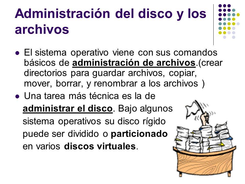 Administración del disco y los archivos