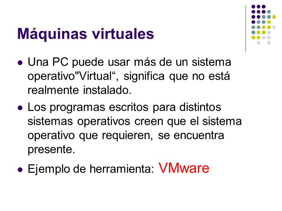 Máquinas virtualesUna PC puede usar más de un sistema operativo Virtual , significa que no está realmente instalado.
