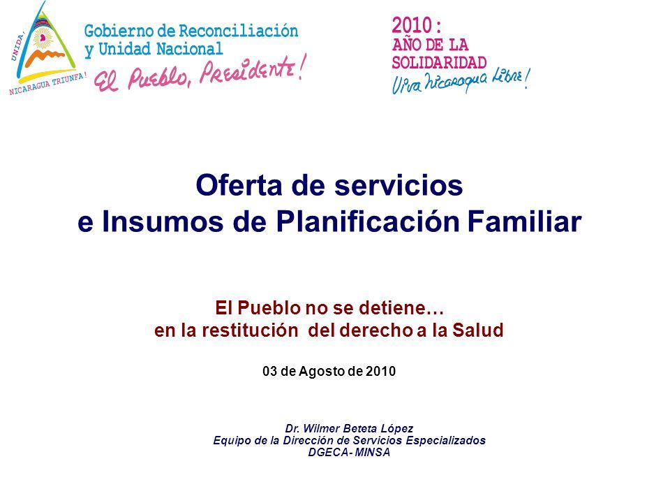 Oferta de servicios e Insumos de Planificación Familiar