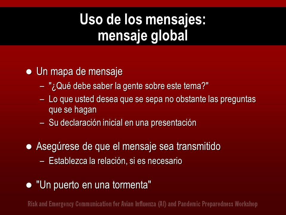 Uso de los mensajes: mensaje global