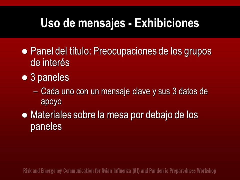Uso de mensajes - Exhibiciones