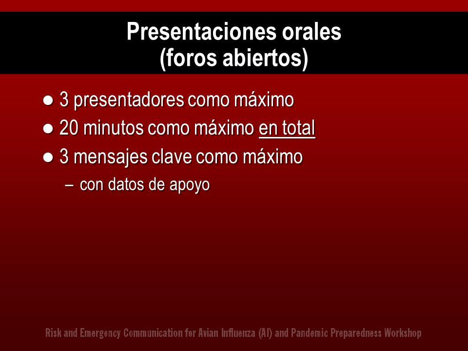 Presentaciones orales (foros abiertos)