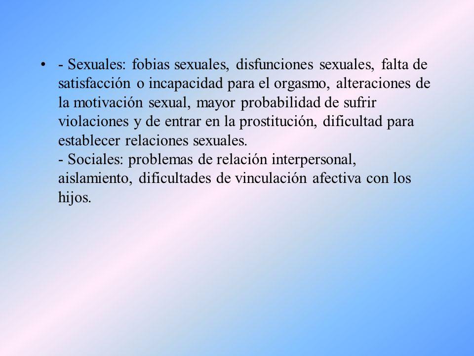 - Sexuales: fobias sexuales, disfunciones sexuales, falta de satisfacción o incapacidad para el orgasmo, alteraciones de la motivación sexual, mayor probabilidad de sufrir violaciones y de entrar en la prostitución, dificultad para establecer relaciones sexuales.