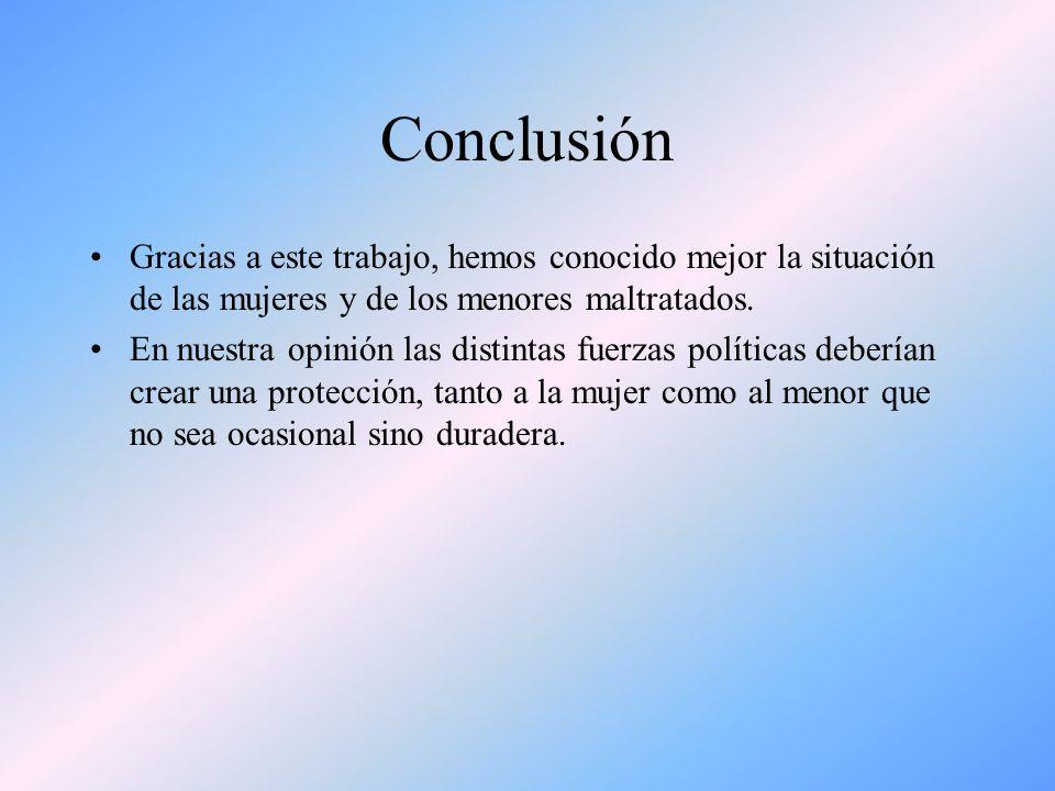 ConclusiónGracias a este trabajo, hemos conocido mejor la situación de las mujeres y de los menores maltratados.