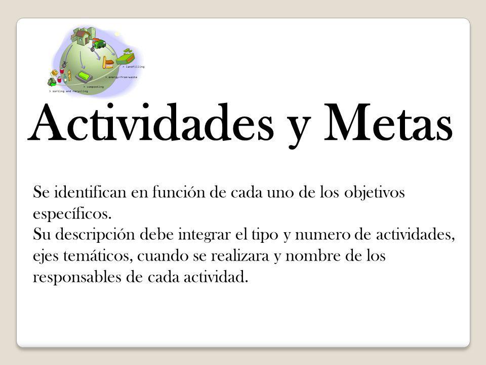 Actividades y Metas Se identifican en función de cada uno de los objetivos específicos.