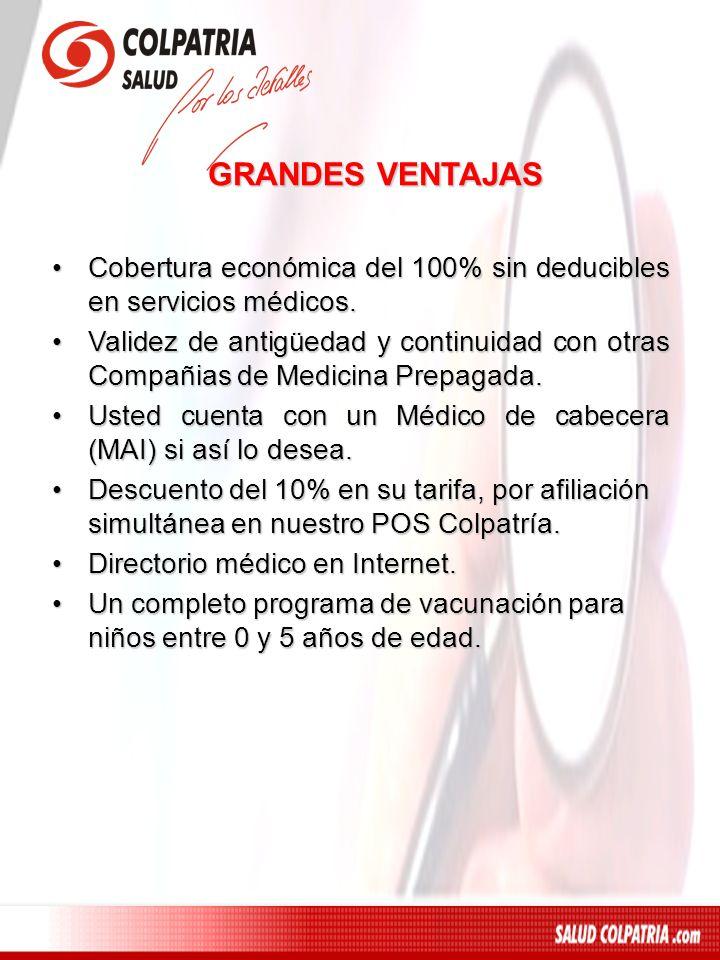 GRANDES VENTAJASCobertura económica del 100% sin deducibles en servicios médicos.