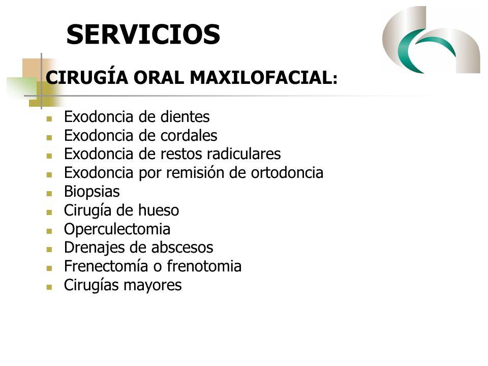 SERVICIOS CIRUGÍA ORAL MAXILOFACIAL: Exodoncia de dientes